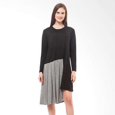 Tendencies Jeanny Asymetric Black Dress - Hitam