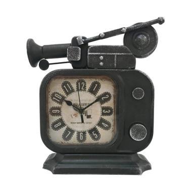 TOKUNIKU Vintage Retro Old TV Radio Shape Iron Metal Table Clock