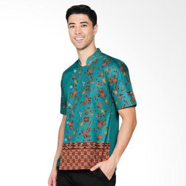 Chef Series Jade Batik Tangan Pendek Baju Koki - Hijau [Size XL]