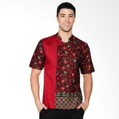 Chef Series Jade Batik Tangan Pendek Baju Koki - Maroon [Size M]