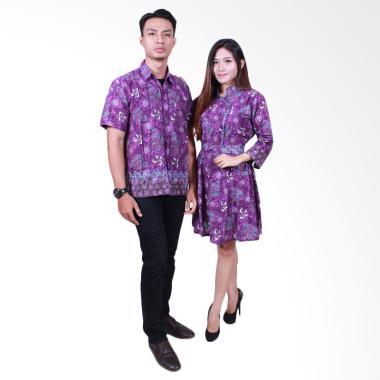 Batik Putri Ayu Solo Sarimbit Dress SRD503 Baju Batik Couple - Ungu