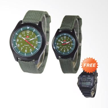 Swiss Army SAX 1003-75 Analog Jam T ... ijau + Free Digital Watch