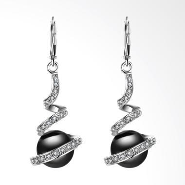 SOXY LKN18KRGPE255 Green Platinum White Pearl Earrings