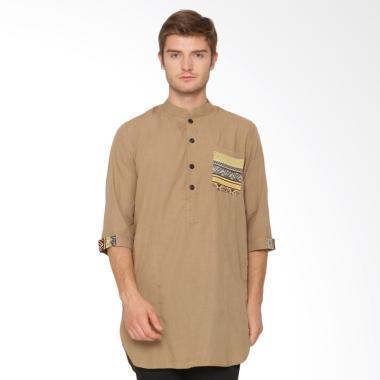Zayidan Gamis Songket Baju Muslim Pria - Khaki