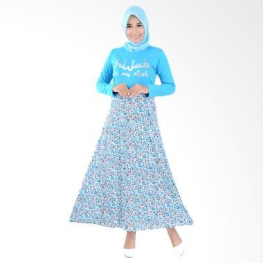 Jfashion Maxi Tangan Panjang Print  ... e Long Dress Gamis - Biru