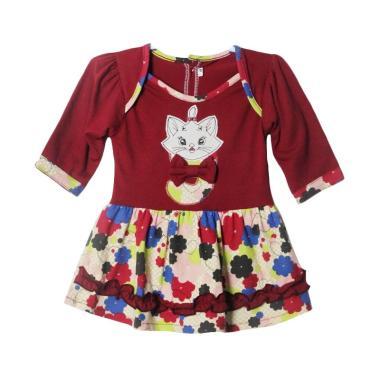 TWO MIX 2154 Bunga Dress Bayi Lengan Panjang - Marun
