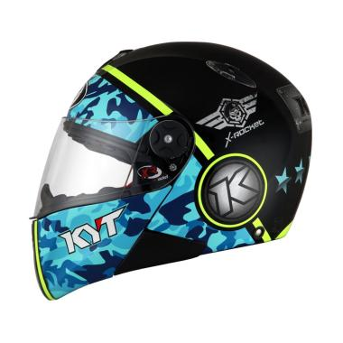KYT X Rocket Retro #3 Helm Full Face - Black Blue Yellow Fluo
