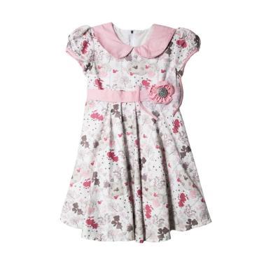 TWO MIX 2251 Fairy Klok Bunga Dress Anak - White Dusty Pink