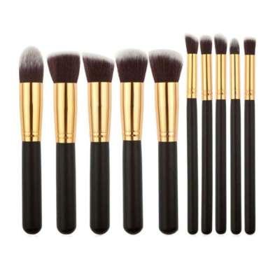 harga Unik Kuas Make Up Wajah Cosmetic Make Up Brushes 10 PCS - HITAM EMAS Berkualitas Blibli.com