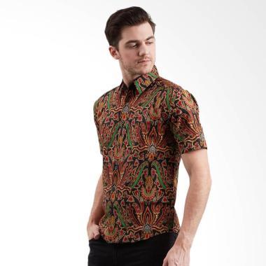Enzy Batik Men Shirt Tahta Kemeja Batik Pria - Black
