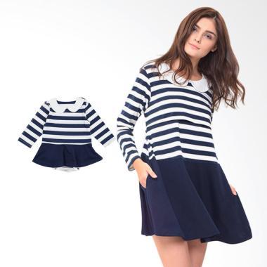 Mooimom Long Sleeves Dress Set Baju ... nyusui & Anak - Navy Girl