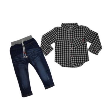VERINA BABY Kemeja Kotak-Kotak Plus Pants Setelan Pakaian Anak - Hitam