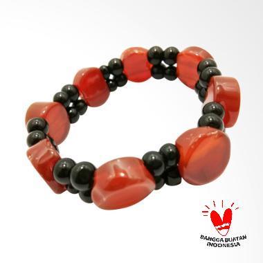 Vee Batu Giok Model Bundar Bola Gelang Terapi Kesehatan - Coklat Hitam