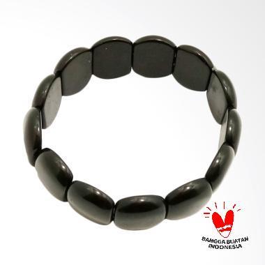 Vee Model Oval Pipih Batu Giok Gelang Terapi Kesehatan - Hitam