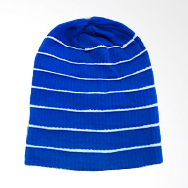 OEM Wafikashop Lipat Salur Striped Bordir Putih Topi Kupluk - Biru