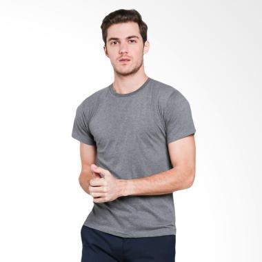 VM Jumbo Kaos Oblong Polos Tangan Pendek T-Shirt Pria - Abu Tua