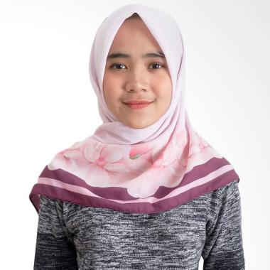 Tiffany Kenanga Printing Cherry Flower Katun Voal Hijab Segiempat