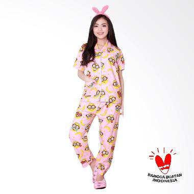 Dasterland Piyama Dewasa Motif Minion Setelan Baju Tidur - Pink