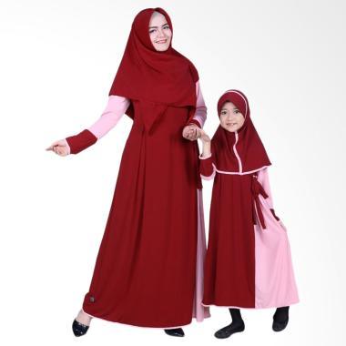 BajuYuli Baju Muslim Couple Gamis Ibu dan Anak - Maroon Peach