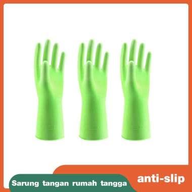 harga Sarung tangan wanita tahan air Sarung tangan dapur rumah tangga Sarung tangan sikat piring Sarung tangan pembersih perabotan plastik rumah tangga Hijau murni 3 pasang-L Blibli.com