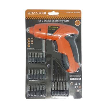 Orange 3.6V Mini Cordless Drill Mesin Bor + Set Mata Bor & Obeng