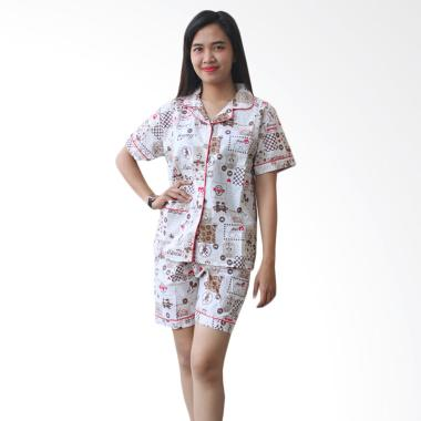 Aily AJ006 Motif Mickey Celana Pendek Setelan Baju Tidur Wanita - Grey