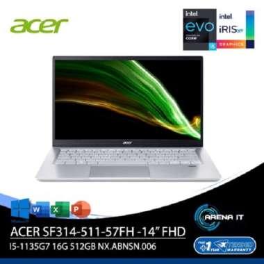 harga ACER SWIFT 3 INFINITY 4 SF314-511-57FH - Silver [Intel® Core™ i5-1135G7 / 16G / 512G / 14inch / Win10 / OHS / NXABNSN006] Silver Blibli.com