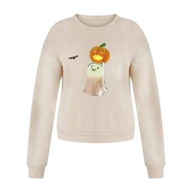 harga Women Halloween Sweatshirt Long Sleeve Casual Pullover Ghost Pumpkin 3XL Beige Blibli.com