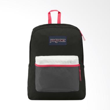 Jansport LBJEX3C4X4B7 Backpack Tas Wanita - Exposed Black Fluorescent Red