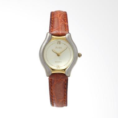 Alba ATCX12 Leather Jam Tangan Wanita - Brown Gold Silver
