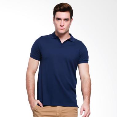 Giordano V-neck Kaos Polo Pria - Navy Blue
