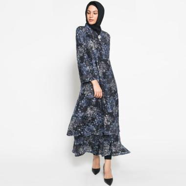 Kasa Heritage Camilla Long Dress Gamis Wanita - Blue Black