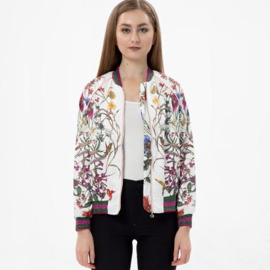 MKY Clothing Printed Floral Bomber Jacket