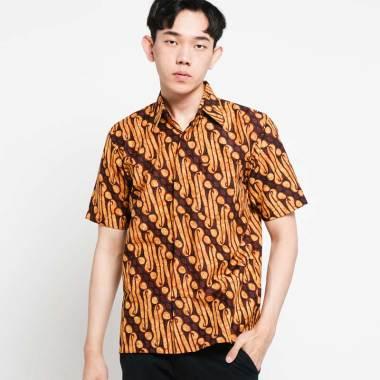 Batik Huza Gading Sogan Parang Besar Kemeja Lengan Pendek Pria