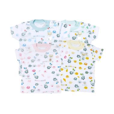 Fluffy ODX Motif Rib Set Baju Oblong Lengan Pendek Bayi [4 pcs]