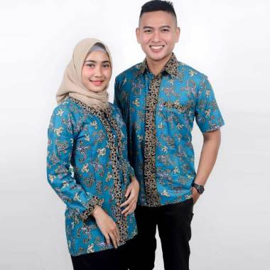 King Projo Motif Hoursea Baju Batik Couple Blue