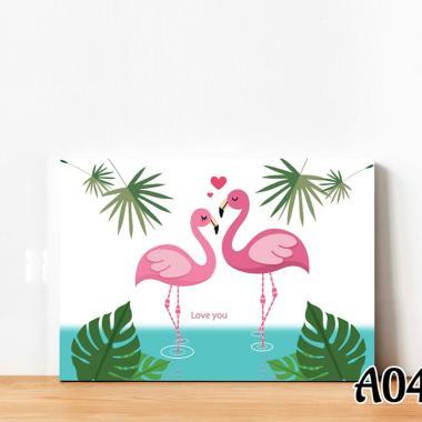 samju hiasan dinding wallart flamingo love original  a04  full04