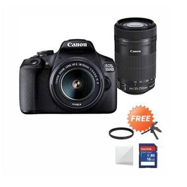 harga Canon EOS 1500D Kit 18-55 IS II + 55-250mm Lens Kamera DSLR - Hitam + Free SDHC 16GB + Mini Folding + Screenguard + Filter Blibli.com