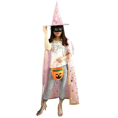 harga Bluelans Halloween Adult Kids Star Print Cape Cloak Hat Set Makeup Costume Party Supply Long Blibli.com