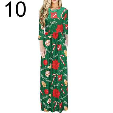 Women Floral Print Long Sleeve O-Neck Tight Waist Maxi Dress Christmas Costume 10#