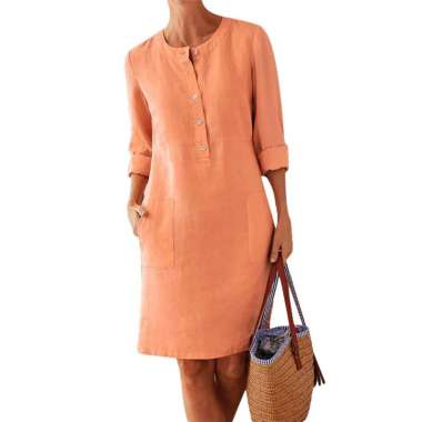 Bluelans Plus Size Casual Solid Color Cotton Linen Women Long Sleeve Tunic Kaftan Dress