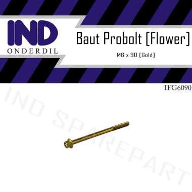 harga IND Onderdil Baut M6x90 Kunci 8 Flower Baut Probolt - Gold Blibli.com