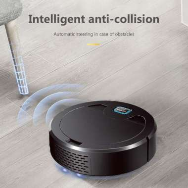 Rechargeable Automatic Smart Sweeper Robot 1600Pa Floor Cleaning Vacuum Cleaner Black