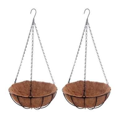 harga 2 Pack 14'' Hanging Basket Metal Plant Flower Floral Pot Coconut Fiber Liner - Blibli.com