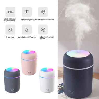 H2O Humidifier Usb Air Diffuser 300 ml Purifier Pelembab Udara Light PUTIH