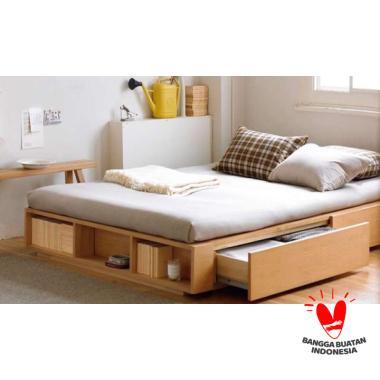 (PRE-ORDER)Dipan divan tempat tidur kayu ukuran 180x200 sandaran coklat kayu