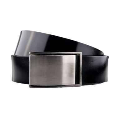 Mr.Bee Metal Shine Midnight Leather Belt - Black