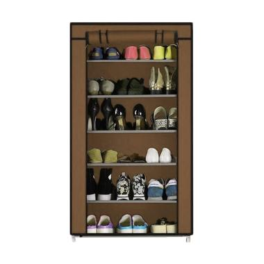 Godric Rak Sepatu SINGLE 7 Layer 6  ... 56 x 25 x 105 CM - Coffee