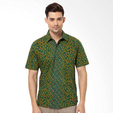 Asana Peacock Short Sleeves Batik Pria - Green