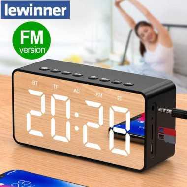 harga ORIGINAL Lewinner Jam Alarm Clock with Bluetooth Speaker TF AUX FM Radio BT506F Hitam Blibli.com